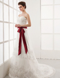 A-Line/Princess Sweetheart Chapel Train Tulle Wedding Dress With Ruffle Lace Sash Bow(s) (002000164)