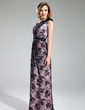 Sheath/Column One-Shoulder Floor-Length Charmeuse Lace Bridesmaid Dress With Flower(s) (007019613)