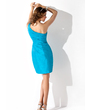 Sheath/Column One-Shoulder Short/Mini Taffeta Homecoming Dress With Ruffle (022010349)