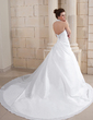A-Line/Princess Halter Cathedral Train Taffeta Wedding Dress With Ruffle Lace Beading (002011754)