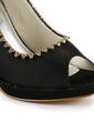 Women's Satin Cone Heel Peep Toe Platform Sandals With Beading (047029182)