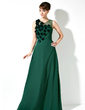 Sheath/Column Scoop Neck Floor-Length Chiffon Mother of the Bride Dress With Ruffle Beading Flower(s) (008017169)