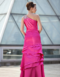 A-Line/Princess One-Shoulder Floor-Length Charmeuse Mother of the Bride Dress With Ruffle Beading (008018684)