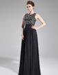 A-Line/Princess Scoop Neck Floor-Length Chiffon Sequined Evening Dress With Ruffle (017019703)