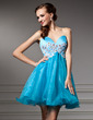 Empire Sweetheart Short/Mini Organza Homecoming Dress With Beading Appliques Lace Sequins (022008136)