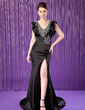 Trumpet/Mermaid V-neck Sweep Train Charmeuse Mother of the Bride Dress With Beading Sequins Split Front Cascading Ruffles (008018934)