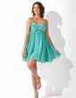Yüksek Bel Kalp Kesimli Kısa/Mini Chiffon Mezunlar Gecesi Elbisesi Ile Boncuklama Çiçek(ler) (022008989)
