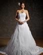 Balo Elbisesi Askısız Şapel Kuyruk Organza Satin Gelinlik Ile Büzgü Lace Boncuklama (002011556)
