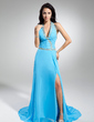 A-Line/Princess Halter Watteau Train Chiffon Evening Dress With Beading Sequins Split Front (017014893)