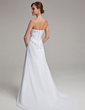 A-Line/Princess Strapless Sweep Train Chiffon Wedding Dress With Ruffle Appliques Lace (002004166)