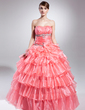 Ball-Gown Strapless Floor-Length Organza Quinceanera Dress With Beading Appliques Lace Sequins Cascading Ruffles (021015041)