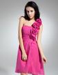 Linia A/Księżniczka Jednoramienna Do Kolan Chiffon Sukienka na Zjazd Absolwentów Z Żabot (022014952)