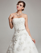 Ball-Gown Sweetheart Court Train Tulle Wedding Dress With Ruffle Beading Feather Flower(s) (002017568)