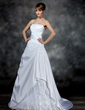 A-Line/Princess Strapless Court Train Satin Wedding Dress With Ruffle Beading Appliques Lace (002017181)