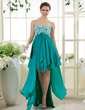 A-Line/Princess Sweetheart Asymmetrical Chiffon Prom Dress With Lace Beading Sequins Cascading Ruffles (018015451)