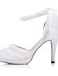 Women's Satin Stiletto Heel Closed Toe Pumps With Bowknot Imitation Pearl (047056263)