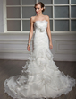 Trumpet/Mermaid Strapless Chapel Train Satin Organza Wedding Dress With Cascading Ruffles (002011995)