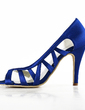 Women's Satin Stiletto Heel Peep Toe Sandals With Hollow-out (047016485)