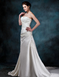 A-Line/Princess Sweetheart Chapel Train Satin Wedding Dress With Ruffle Lace Beading (002000452)