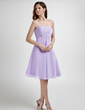 Empire Strapless Knee-Length Chiffon Bridesmaid Dress With Ruffle Beading (007001077)