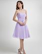 Imperialna Bez ramiączek Do Kolan Chiffon Suknia dla Druhny Z Żabot Perełki (007001077)