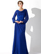 A-Line/Princess Cowl Neck Floor-Length Chiffon Mother of the Bride Dress With Lace (008006015)