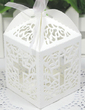 Cross Laser Cut Cubic Favor Boxes With Ribbons (Set of 12) (050026303)