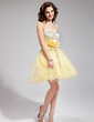 A-Line/Princess Sweetheart Short/Mini Tulle Homecoming Dress With Embroidered Ruffle Beading Flower(s) Sequins (022008628)