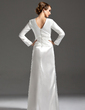 Sheath/Column V-neck Floor-Length Charmeuse Mother of the Bride Dress With Ruffle (008006169)