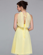 A-Line/Princess V-neck Knee-Length Chiffon Bridesmaid Dress With Ruffle Lace Bow(s) (007037163)