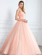 Ball-Gown V-neck Floor-Length Prom Dress With Ruffle Beading Sequins (018112895)