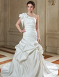 Trumpet/Mermaid One-Shoulder Chapel Train Satin Wedding Dress With Ruffle (002011500)