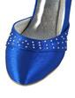Women's Satin Spool Heel Closed Toe Pumps With Rhinestone (047029882)
