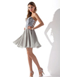 A-Line/Princess Sweetheart Short/Mini Chiffon Sequined Homecoming Dress With Beading (022010092)