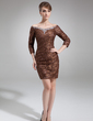 Sheath/Column Off-the-Shoulder Short/Mini Lace Mother of the Bride Dress With Ruffle Beading (008006567)