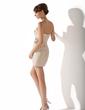 Sheath/Column Scalloped Neck Short/Mini Satin Cocktail Dress With Beading Sequins (016021200)