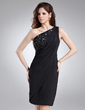 Sheath/Column One-Shoulder Knee-Length Chiffon Cocktail Dress With Ruffle Beading (016021233)