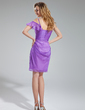 Sheath/Column Sweetheart Short/Mini Chiffon Bridesmaid Dress With Cascading Ruffles (007019634)