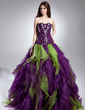 Ball-Gown Scalloped Neck Floor-Length Organza Quinceanera Dress With Beading Cascading Ruffles (021015611)