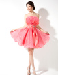 A-Line/Princess Scalloped Neck Short/Mini Organza Homecoming Dress With Ruffle Beading Bow(s) (022010567)
