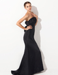 Trumpet/Mermaid Scalloped Neck Sweep Train Taffeta Evening Dress With Ruffle (017021133)
