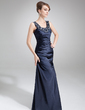 Sheath/Column Scoop Neck Floor-Length Charmeuse Mother of the Bride Dress With Ruffle Beading (008022559)