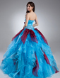 Ball-Gown Scalloped Neck Floor-Length Organza Quinceanera Dress With Beading Flower(s) Cascading Ruffles (021015938)