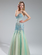 Trumpet/Mermaid Sweetheart Floor-Length Tulle Prom Dress With Beading (018019000)