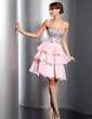 A-Line/Princess Sweetheart Short/Mini Chiffon Homecoming Dress With Beading Sequins Cascading Ruffles (022009619)