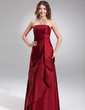 Sheath/Column Strapless Floor-Length Taffeta Bridesmaid Dress With Cascading Ruffles (007001734)