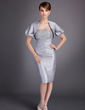 Sheath/Column Strapless Knee-Length Taffeta Mother of the Bride Dress With Ruffle Lace Beading (008005750)