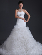 Trumpet/Mermaid Sweetheart Chapel Train Organza Wedding Dress With Beading Cascading Ruffles (002017394)