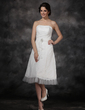 A-Line/Princess Sweetheart Knee-Length Chiffon Tulle Lace Wedding Dress With Ruffle Crystal Brooch Cascading Ruffles (002021293)