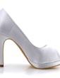 Women's Satin Stiletto Heel Peep Toe Pumps (047039648)